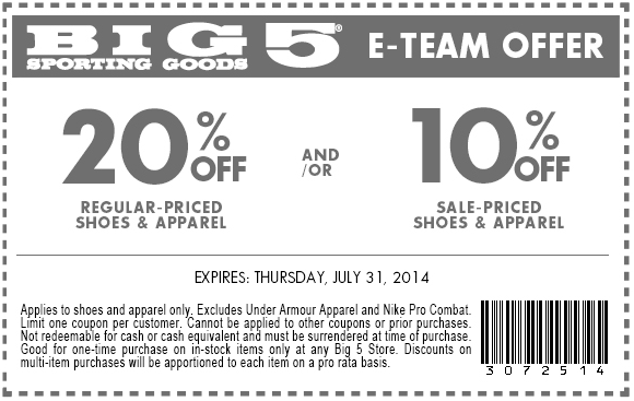 graphic about Big 5 Printable Coupon named Massive 5 Coupon Codes or printable coupon codes August 2019