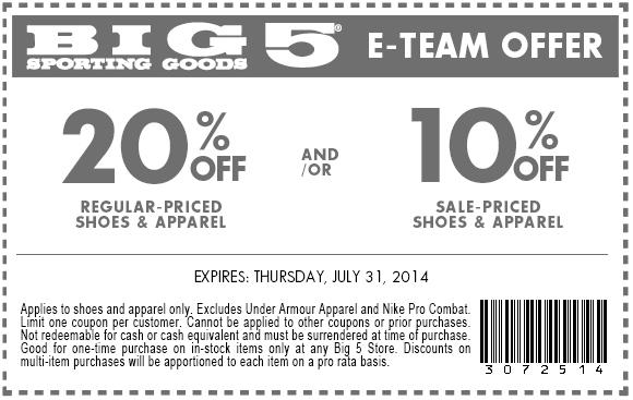 image regarding Big 5 Printable Coupon called Substantial 5 Coupon Codes or printable coupon codes August 2019
