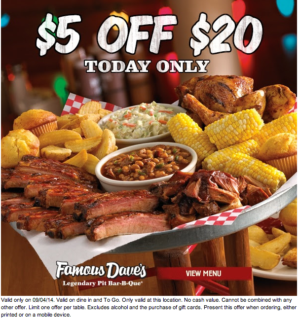 image relating to Famous Dave's Printable Coupons referred to as 25% Popular Daves coupon codes codes, printable coupon August