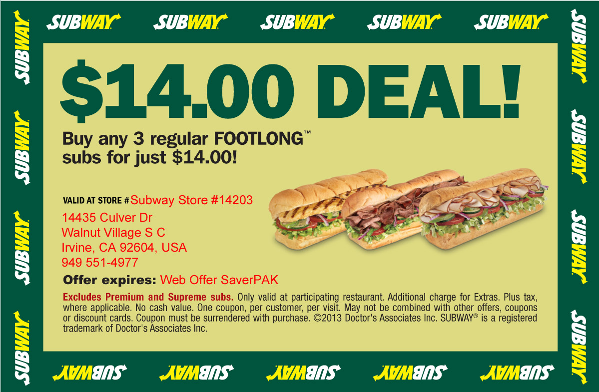 Subway coupons 2018 mobile