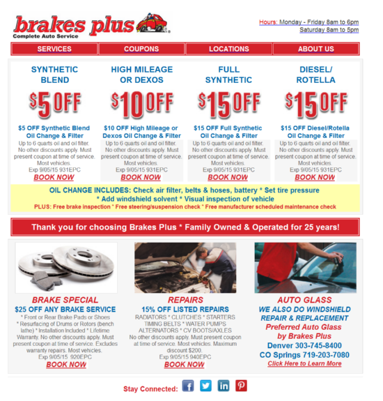 Tire Kingdom Oil Change Coupons >> Brakes Plus Coupons codes and printable discount ...