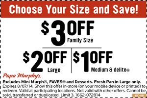photograph regarding Papa Murphy's $3 Off Printable Coupon named Papa Murphys Coupon codes, printable coupon codes on-line August