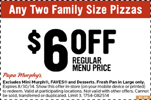 image about Papa Murphys Printable Coupons called Papa Murphys Discount coupons, printable coupon codes on line August