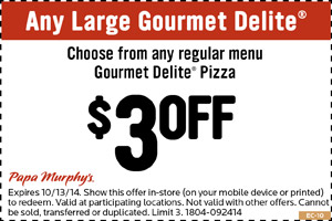 graphic about Papa Murphy's $3 Off Printable Coupon referred to as Papa Murphys Discount codes, printable coupon codes on the net August