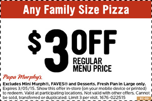 picture regarding Papa Murphy's $3 Off Printable Coupon identified as Papa Murphys Coupon codes, printable coupon codes on line August