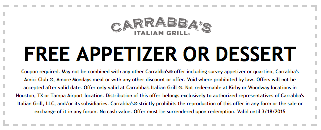 image about Carrabba's Coupons Printable called 55% off Carrabbas Italian Grill discount codes printable code