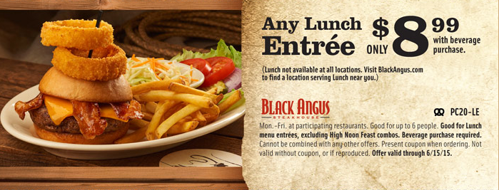 photo about Black Angus Printable Coupons named Black Angus Discount codes Offers of the Working day