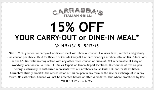 photograph regarding Carrabba's Coupons Printable called 55% off Carrabbas Italian Grill discount coupons printable code