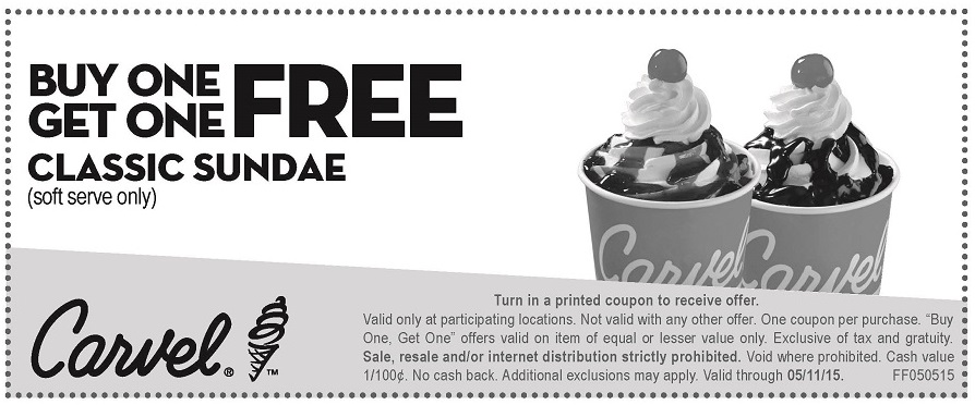 photograph about Carvel Coupons Printable called Carvel Printable Coupon codes, coupon codes, cell and on-line