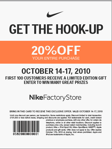 nike outlet store coupon printable