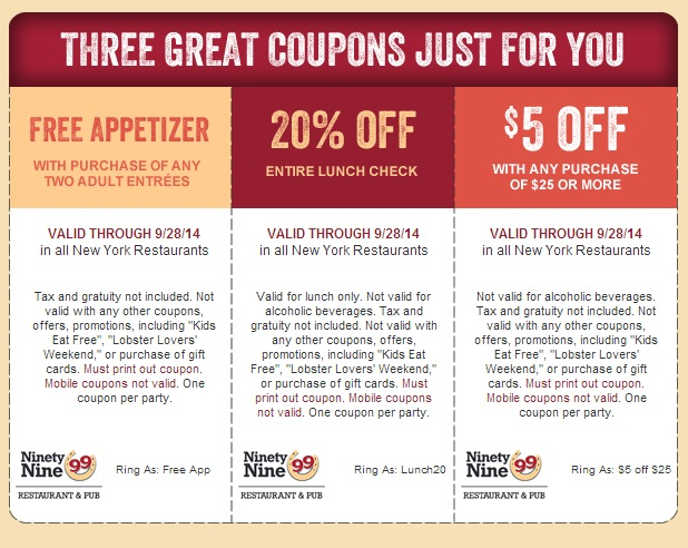 pub 99 free appetizer coupon