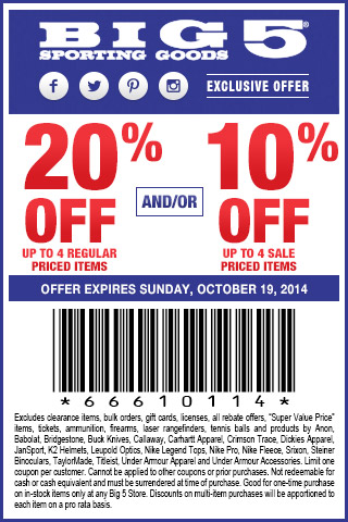 photo about Big 5 Coupons Printable named Significant 5 Coupon Codes or printable coupon codes August 2019