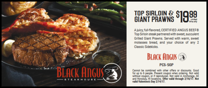 picture regarding Black Angus Printable Coupons named Black Angus Steakhouse Discount coupons printable August 2019