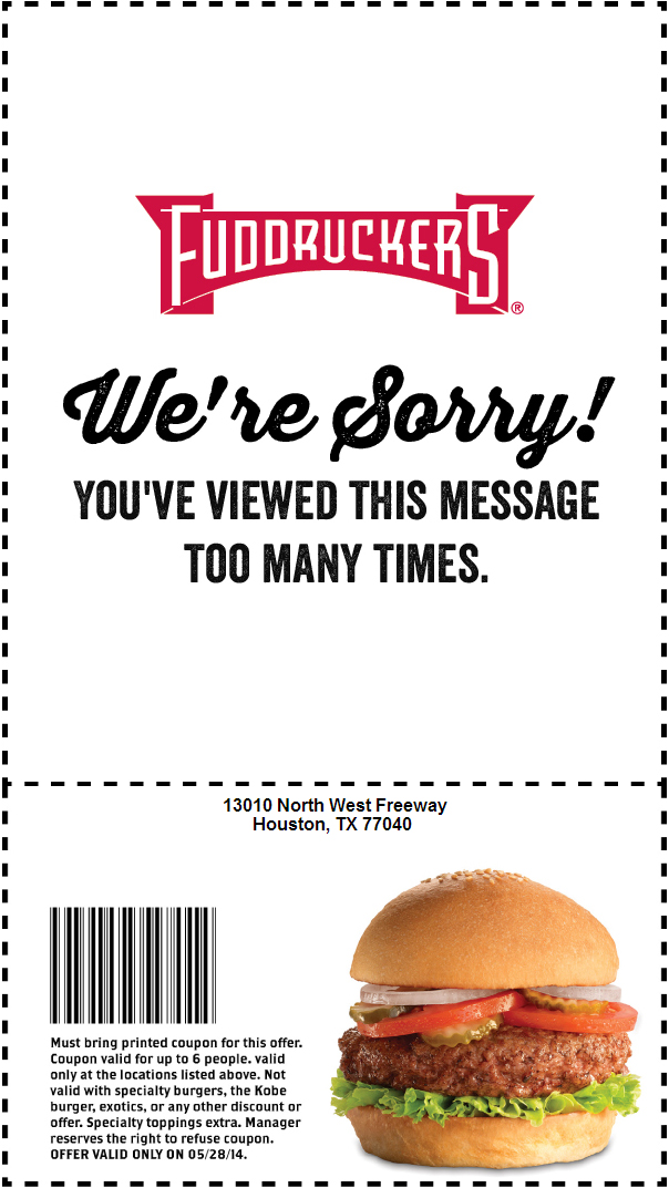 picture regarding Fuddruckers Coupons Printable known as 35% OFF Fuddruckers Coupon codes, codes and printable low cost