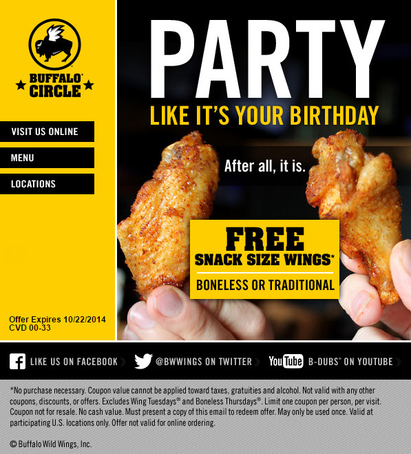 Buffalo wild wings coupons free appetizer