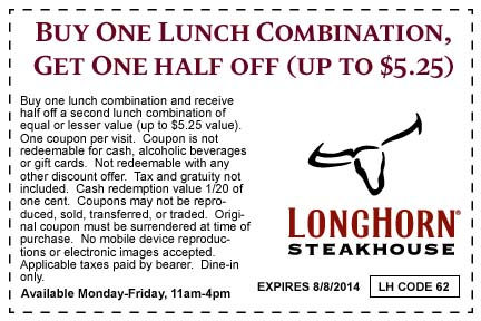 photograph relating to Longhorn Coupons Printable known as 50% Off Longhorn Steakhouse Coupon codes Codes printable August
