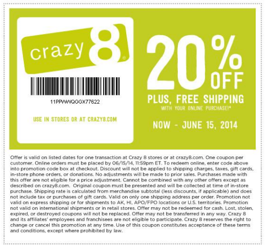 Today's top Crazy 8 coupon: 10% Off 2+ Classic Gift Cards. Get 11 coupons for