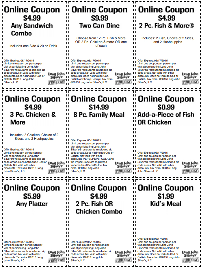 image relating to Long John Silver's Printable Coupons titled Prolonged John Silvers discount codes printable codes August 2019