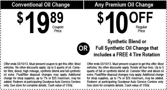Goodyear Coupons Codes Printable Oil Change Coupon December 2018