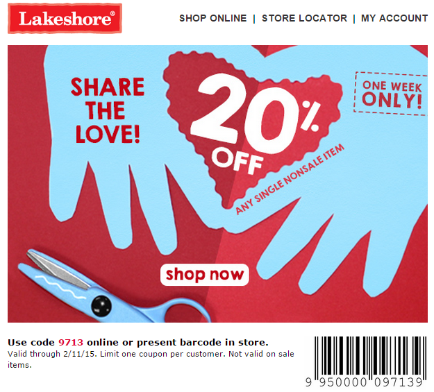 photograph relating to Lakeshore Learning Printable Coupons titled Lakeshore Finding out Coupon, codes, cell, on-line and