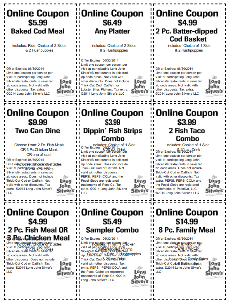 image regarding Long John Silver's Printable Coupons referred to as Very long John Silvers discount codes printable codes August 2019