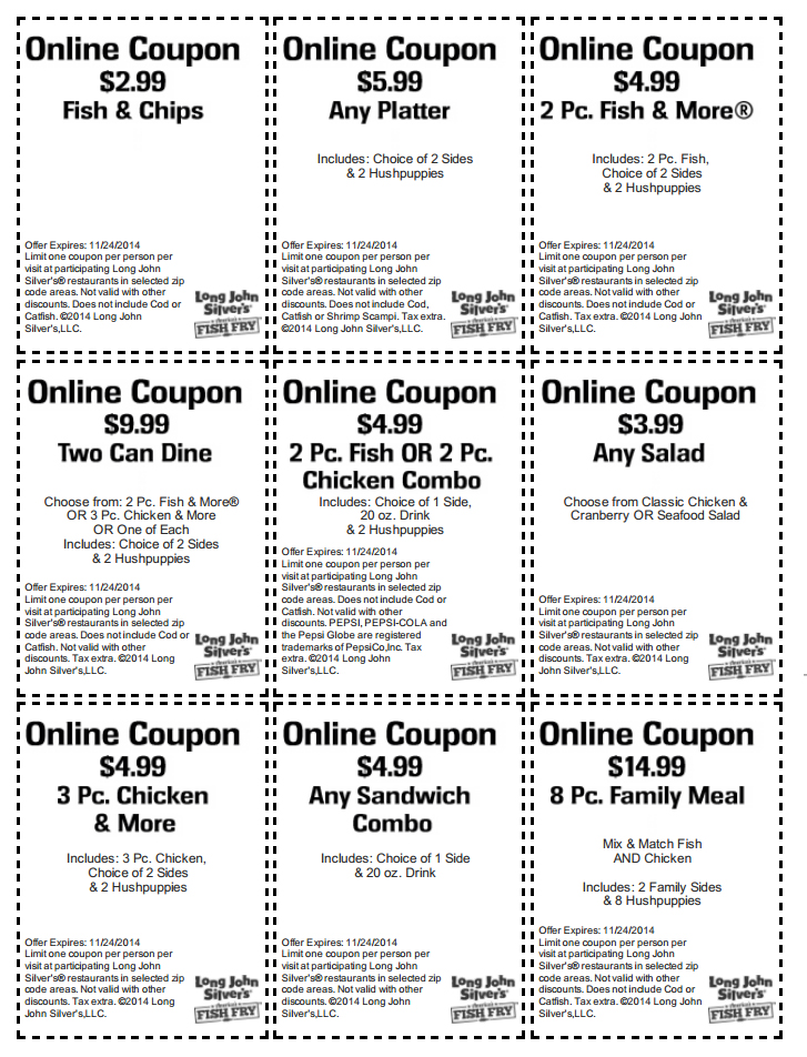 picture relating to Long John Silver's Printable Coupons identify Extended John Silvers discount codes printable codes August 2019
