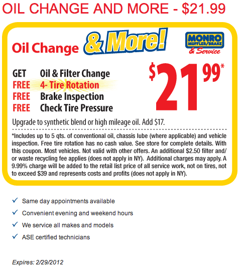 Monro Oil Change Coupon >> Monro Muffler Brake And Service Coupons Codes Printable