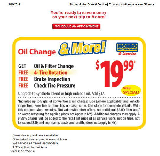 Monro Muffler Brake And Service Coupons Codes Printable Coupon