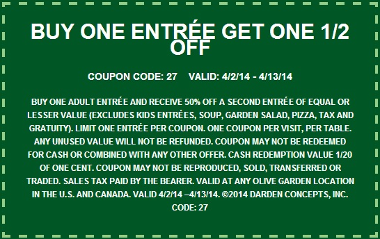 Olive Garden Coupons Printable Code For Restaurant Lunch November 2020 Takecoupon Com