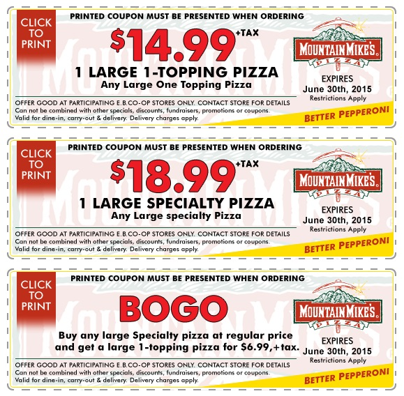 Mountain Mike's Pizza offers promo codes often. On average, Mountain Mike's Pizza offers 2 codes or coupons per month. Check this page often, or follow Mountain Mike's Pizza (hit the follow button up top) to keep updated on their latest discount codes. Check for Mountain Mike's Pizza's promo 5/5(4).
