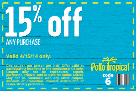 graphic about Pollo Tropical Printable Coupons identified as Pollo tropical discount codes printable on-line August 2019