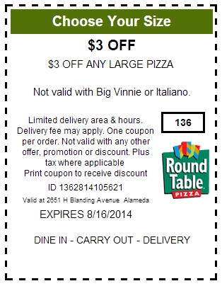 Off Round Table Pizza Coupons Printable Code September - Round table pizza printable coupons