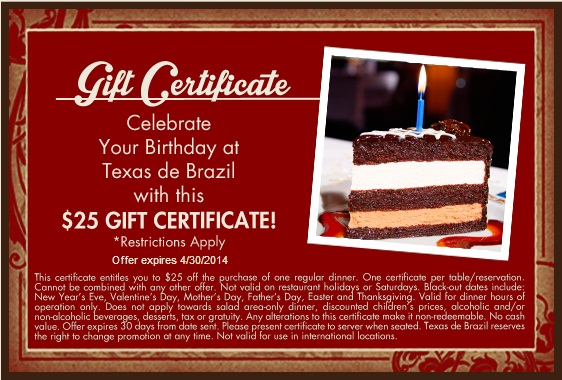 picture regarding Texas De Brazil Printable Coupon called Texas De Brazil discount coupons printable codes on-line August 2019