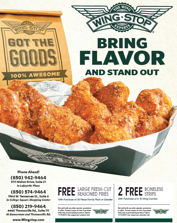 graphic relating to Wingstop Coupons Printable referred to as Wingstop discount coupons printable codes August 2019